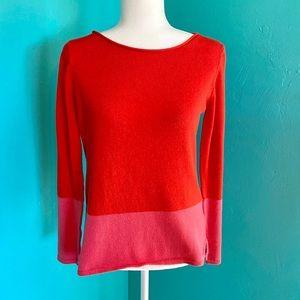 Old Navy Pink Orange Crew Colorblock Sweater